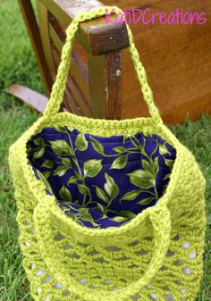 Sewing lining in crocheted bags