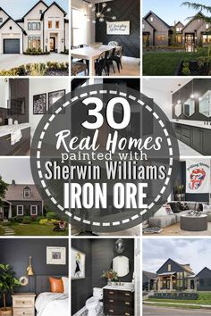 Paint Fireplace, Brick Fireplace, Exterior Paint Colors For House, Exterior Colors, Iron Ore Sherwin Williams, Black Painted Walls, Paint Shades, Modern Farmhouse Exterior, Exterior Trim