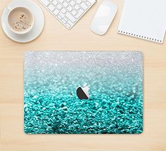 The Aqua Blue & Silver Glimmer Fade Skin Kit for the Apple MacBook Air - Pro or Pro with Retina Display (Choose Version) Macbook Skin, Macbook Laptop, Macbook Decal, Macbook Air Pro, Mac Laptop, Iphone Decal, Mac Book, Azul Tiffany, Tiffany Blue