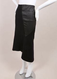 "New With Tags Black Asymmetric Leather and Wool ""Serlupi"" Skirt"