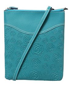 Look what I found on #zulily! Turquoise Flower-Embossed Faux Leather Crossbody Bag by Mellow World #zulilyfinds