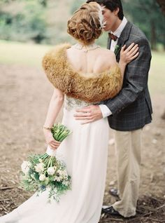www.facebook.com/sorryimlate wedding inspiration 1920 20s fox fur red curls pin curls finger waves thistle blue bouqet flowers forest woods tweed love marriage kissing