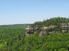The Red River Gorge is a canyon system on the Red River in east-central Kentucky. Geologically, it is part of the Pottsville Escarpment. Much of the Gorge is located inside the Daniel Boone National Forest & has been subsequently reserved as the Red River Gorge Geological Area, an area of around 29,000 acres. Kentucky's Natural Bridge State Park is immediately adjacent to this area, featuring one of the largest natural bridges in the Red River Gorge.