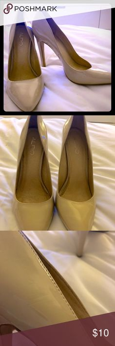ALDO Patient Leather Light Beige Pump Classic and stunning. Only worn a few times, great shape.  Light beige. Pointed toe. Aldo Shoes Heels
