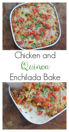 The Art of Comfort Baking: Chicken and Quinoa Enchilada Bake.  So delicious, healthy and filling.  Also find out how I make homemade Enchilada sauce!  #cleaneating #recipe