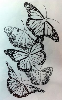 butterflies in black ink