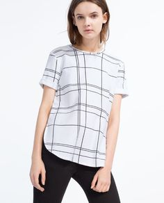 ZARA - WOMAN - CHECKED T-SHIRT WITH SIDE SLITS (black/medium)