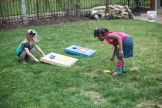 """Our """"Toddler Tosses"""" (the child's version of corn hole) are great for indoor play too on a snowy or rainy day."""