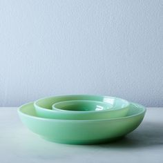 Jadeite Glass Shallow Bowls (Set of 4) on Food52 by Mosser Glass, Cambridge, OH    12/2017 NOT microwavable