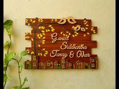 Family Bird Name Plate Wooden Name Plates, Door Name Plates, Name Plates For Home, Personalized Name Plates, Diy Home Crafts, Craft Stick Crafts, Name Plate Design, Mural Art, Murals