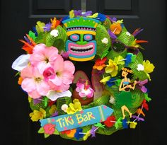 Hawaiian Luau Tiki Door Wreath