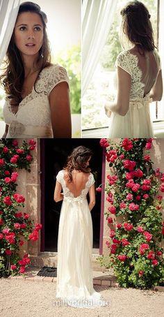 Sheath/Column Wedding Dresses, Ivory Bridal Gowns, V-neck Wedding Dresses, Tulle Lace Bridal Dresses, Cap Straps Open Back Wedding Dresses