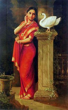 Hamsa Damayanti - Inspired from Raja Ravi Varma's Original - Reprints of Raja Ravi Varma Paintings (Reprint on Paper - Unframed)