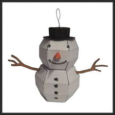 Snowman Free Paper Toy Download - http://www.papercraftsquare.com/snowman-free-paper-toy-download.html