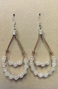 Double Guitar String Earrings with Rose Quartz