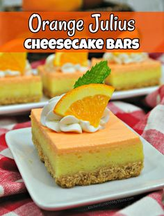 These Orange Julius cheesecake bars are delicious. Then, you have two yummy orange layers on top. If you like Orange Julius' you are going to love these. Cheesecake Bars, Cheesecake Recipes, Cookie Recipes, Best Summer Desserts, Just Desserts, Yummy Cookies, Yummy Treats, Bar Cookies, Orange Frosting