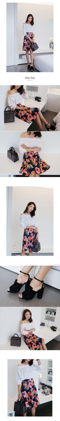 リネン混4TYPEフローラルミディ丈フレアスカート・全4色