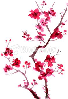 japanese cherry blossom wall art decals | Japanese Cherry Blossom Tree Painting