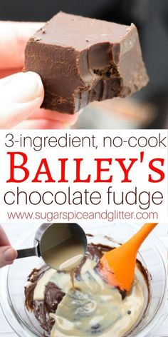 Easy No-Cook Bailey's Fudge ⋆ Sugar, Spice and Glitter Candy Recipes, Sweet Recipes, Holiday Recipes, Dessert Recipes, No Cook Desserts, Homemade Fudge, Homemade Candies, Christmas Cooking, Christmas Desserts