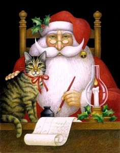 """""""Santa and Cat"""" -- by Stephanie Stouffer"""