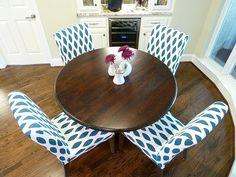 DIY Chairs: IKEA Chairs + IKEA Slipcovers + Fabric Paint + Stencil