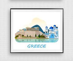 Greece print Greece poster Greek wall decor by InstantDownloadArt1