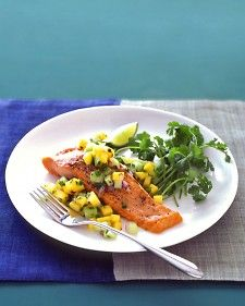 Salmon with Mango Salsa - The flesh of a ripe mango is sweet and firm, providing an excellent bridge between the crispness of cucumber chunks and the creamy, tender fillet of broiled salmon.