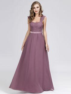 b31f4fa57b Elegant A Line Long Chiffon Bridesmaid Dress With Lace Bodice | Ever-Pretty  #bridesmaidress