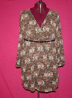Torrid Floral Chiffon Brown Long Sleeve Dress with Belt Size 1x | eBay