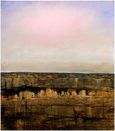 """Mesa Verde III.  As with the images of """"Mesa Verde I and II"""" , this image evolved though a process of abstract marks. In this particular work however, the marks culminate in what may appear to be a photographically derived image. The cliff dwelling depicted in the painting is intended to evoke the spirit and timelessness of Mesa Verde."""