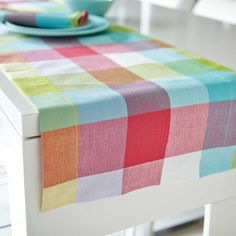 The Picnic Check Table Linens offers a great collection of placemats, napkin sets and runners to brighten-up your table. Its bright, bold colors makes this collection perfect for summer. Linen Placemats, Linen Tablecloth, Table Linens, Tablecloths, Napkins Set, Summer Of Love, Bold Colors, Basket Weaving, Picnic