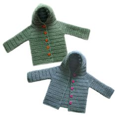 Crochet Pattern: Hooded Baby Cardigan Sweater (5 Sizes)