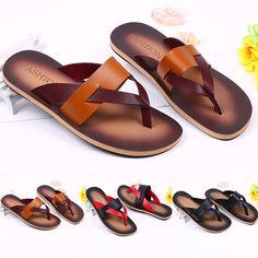 Aliexpress.com: Comprar Envío gratis 2015 nuevos hombres sandalias de cuero de microfibra de Flip flops Casual hombre exterior verano playa zapatillas zapatos de sandalia de cristal fiable proveedores en Xu's Ali Store