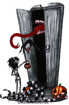 Trick or treating Trick-or-treating is a customary celebration for children on Halloween. Trick or threat? Anime Chibi, Manga Anime, Emo Art, Goth Art, Types Of Drawing Styles, Scary Drawings, Call Of Cthulhu Rpg, Horror, Creepy Art
