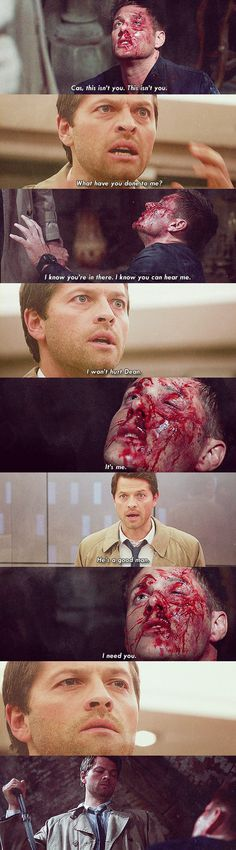 "(GIF SET) 8x17 Goodbye Stranger | ""I won't hurt Dean. He's a good man""------ I straight up cried like a child during this scene"