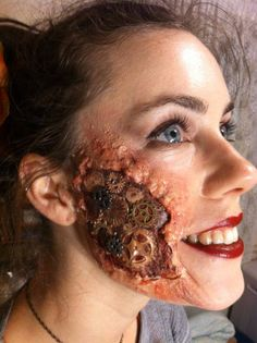 This look has properly been created with a prosthetic piece and then covered with blood and maybe some wax. I like the look of this. Now YOU Can Create Mind-Blowing Artistic Images With Top Secret Photography Tutorials With Step-By-Step Instructions! http://trick-photo-graphybook-today.blogspot.com?prod=WlankFlr