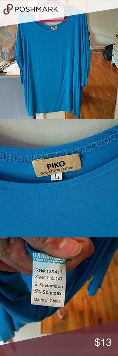 Piko Blue, 3/4 quarter length Green Earth Fashion Piko top, can be worn as dress or top, super soft! Green Earth Fashion Tops Tunics
