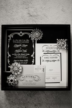 Since I'm in a Gatsby phase.Glamorous style wedding invitations for a Great Gatsby theme. Great Gatsby Themed Wedding, 1920s Wedding, Art Deco Wedding, Our Wedding, Gatsby Party, Perfect Wedding, Wedding Stuff, Great Gatsby Motto, Black And White Wedding Invitations