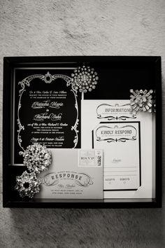 Glamorous vintage style wedding invitations for a Great Gatsby theme.  Keywords: #greatgatsbyweddings #jevelweddingplanning Follow Us: www.jevelweddingplanning.com  www.facebook.com/jevelweddingplanning/