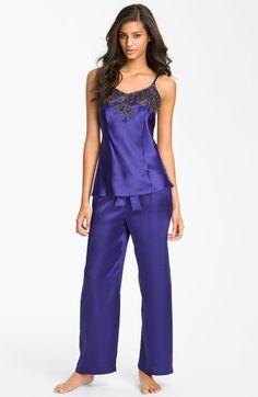 Purple Satin Pajamas for Women | ... La Renta Sleepwear Twilight Lace Pajamas in Purple (capri blue) - Lyst