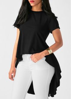 Fashionable pure color short sleeve round collar asymmetrical blouse - Same As Photo / xl Clothes For Women In 30's, Blouses For Women, Women's Blouses, Tunics, Trendy Outfits For Teens, Womens Fashion Casual Summer, Casual Chic Style, Blouse Styles, Women's Fashion Dresses