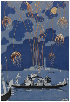 Georges Barbier, En Bateau, Fireworks in Venice, from Paul Verlaine, Fêtes galantes, 1928. British Library