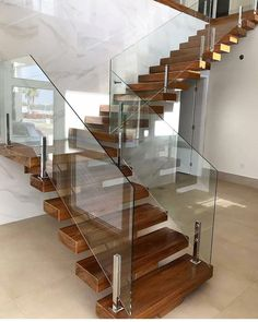 61 unique modern staircase design ideas for your dream house Glass Stairs Design, Staircase Railing Design, House Staircase, Home Stairs Design, Staircase Railings, Interior Stairs, Home Interior Design, House Design, Stairs With Glass