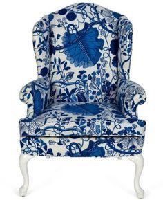 #blue #white #chair #armchair #wingback