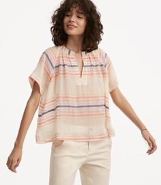 Primary Image of Lou & Grey Striped Cropped Pop-On Shirt