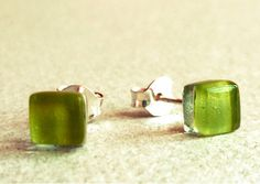Mint green post earrings. Glass and sterling silver by BGLASSbcn, $16.00