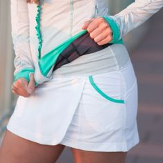 Surprise Skirt-- White / Seafoam
