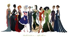 """""""Avengers Gowns: Complete Collection"""" by Kelsey Michele.  From left to right: Thor, Nick Fury, Black Widow, Captain America, Agent Coulson, Loki, Iron Man, The Hulk, Hawkeye, and Maria Hill."""