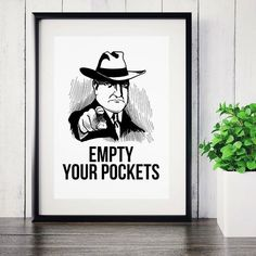 Laundry Room Sign For Men, Empty Your Pockets Vintage Typography Poster, Utility Bathroom Rules Printable For Men,Home Decor, For Husband