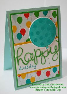 Julie Kettlewell - Stampin Up UK Independent Demonstrator - Order products Cherry on Top DSP for Coffee and Card Bday Cards, Kids Birthday Cards, Handmade Birthday Cards, Birthday Images, Birthday Quotes, Card Making Inspiration, Making Ideas, Scrapbook Cards, Scrapbooking